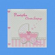 Pamiątka Chrztest Album wózek różowy