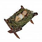 Dzieciątko Jezusek na sianku w żłóbku 8 cm