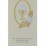 Karnet Pamiątka Pierwszej Komunii Święta Hostia od matki chrzestnej