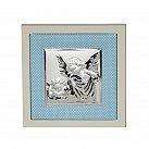 Obrazek srebrny ANIOŁ STRÓŻ ramka niebieska