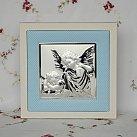 Obrazek srebrny ANIOŁ STRÓŻ niebieska ramka 20x20