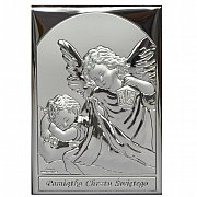 Obrazek srebrny ANIOŁEK NAD DZIECKIEM Z LATARENKĄ