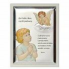 Obrazek srebrny ANIOŁEK kolorowy z Modlitwą ramka