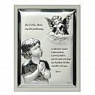 Obrazek srebrny Aniołek Dziecko modlitwa w ramce