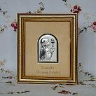Pamiątka Pierwszej komunii świętej Obrazek srebrny dziewczynka złota ramka