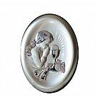 Pamiątka Pierwszej komunii świętej Obrazek srebrny dziewczynka 13x18