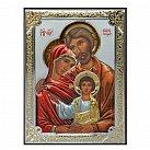 Ikona srebrna kolorowa z wizerunkiem Świętej Rodziny mała