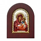 Ikona srebrna Matka Boża w drewnianej ramce