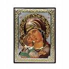 Obrazek srebrny Matka Boża Włodzimierska kolorowa