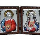 Ikona Serce Jezusa i Serce Maryi kolorowa