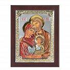 Ikona srebrna Święta Rodzina w drewnie kolorowa