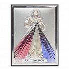 Obrazek srebrny Jezus Miłosierny kolorowy