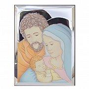 Obrazek srebrny Święta Rodzina w kolorze