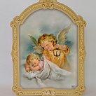 Obrazek Anioł Stróż z latarenką na drewnie 13 x 10