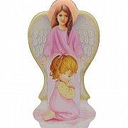 Anioł na drewnie z dziewczynką
