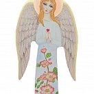 Anioł na drewnie niebieski