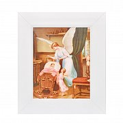 Obrazek Anioł nad kołyską w białej ramie