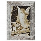 Obraz Anioł na kładce biała przecierana rama mała