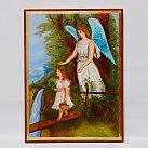 Ikona Anioł Stróż na kładce dziewczynka