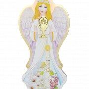 Anioł na drewnie z motywem komunijnym
