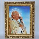 Obraz święty Jan Paweł II w ozdobnej ramie