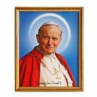 Obrazek w ramce świety Jan Paweł II złoty