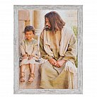 Obraz Jezus i dziecko duży biała przecierana rama