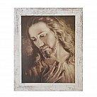 Obraz Jezus ze zdjęcia brata Elia biała przecierana rama