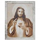 Obraz Serce Jezusa duży biała przecierana rama