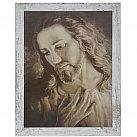 Obraz Jezus ze zdjęcia brata Elia duży biała przecierana rama