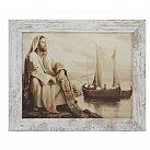 Obraz Jezus nad jeziorem biała przecierana rama
