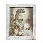 Obraz Jezus Pasterz biała przecierana rama 20x25