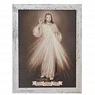 Obraz Jezu Ufam Tobie biała przecierana rama duża