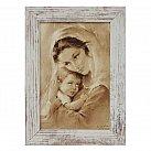 Obraz Matka Boża Tuląca biała przecierana rama mała
