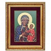 Ikona Matka Boska Częstochowska w ozdobnej ramie