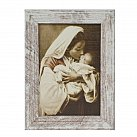 Obraz Matka Boża Troskliwa biała przecierana rama mała