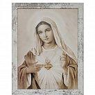 Obraz Serce Maryi biała przecierana rama duża