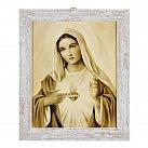 Obraz Serce Maryi rama biała przecierana