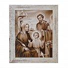 Obraz Święta Rodzina biała przecierana rama
