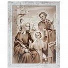 Obraz święta Rodzina biała XL przecierana rama