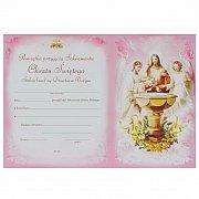 Pamiątka chrztu świętego z teczką dziecko różowa