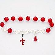 Różaniec Bransoletka 10 kryształ czerwony