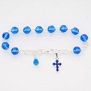 Różaniec Bransoletka 10 kryształ niebieski