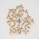 Różaniec z cyrkoniami z Janem Pawłem pomarańczowy