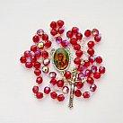 Różaniec kryształkowy z Matką Bożą Częstochowską czerwony