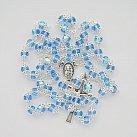 Różaniec kryształkowy okuwany niebieski jasny opalizowany