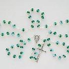 Różaniec kryształkowy okuwany zielony opalizowany