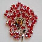 Różaniec kryształkowy bordowy z Matką Boską Częstochowską