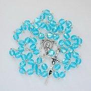 Różaniec kryształkowy błękitny opalizowany