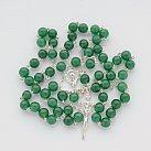 Różaniec srebrny Jadeit zielony